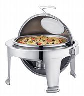 Super Luxury, Highly Polished Stainless Steel Round Roll Top Chafer, Chafing Set. 6.8 ltr capacity.